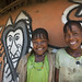 Alaba girls in front of their decorated house - Ethiopia