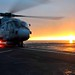 Royal Navy Merlin Helicopter Prepares to Takeoff from RFA Argus