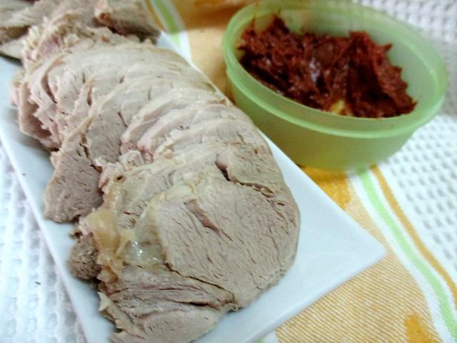 Sliced boiled pork with belacan