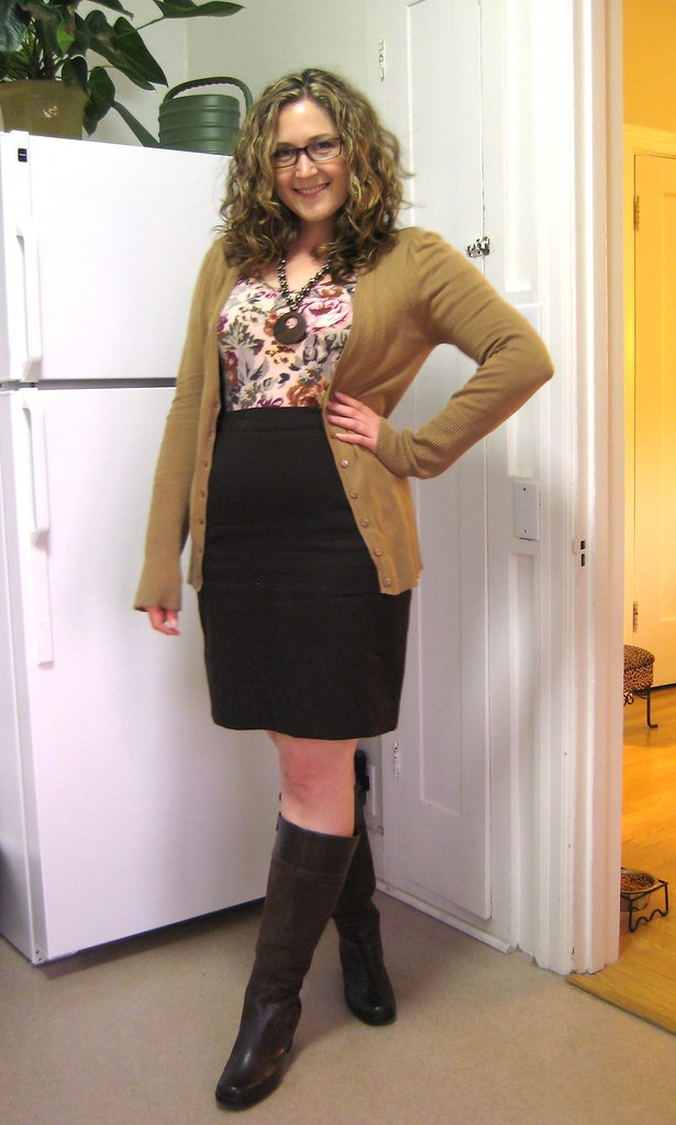 2 23 thrifted brown wool pencil skirt h m floral top