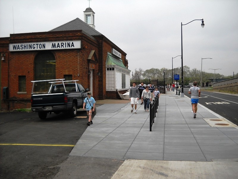View of new maine ave riverwalk trail section looking west for Maine avenue fish market