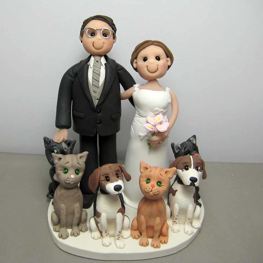 wedding cake toppers with dogs and cats wedding cake topper cats and dogs handmade using polymer 26631