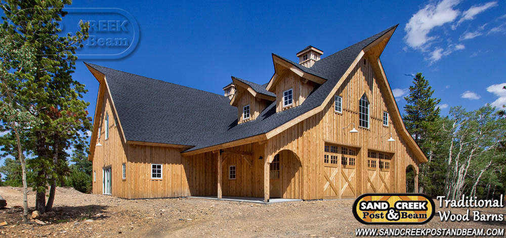 Custom guitar shop sand creek post beam traditional for Custom barn homes