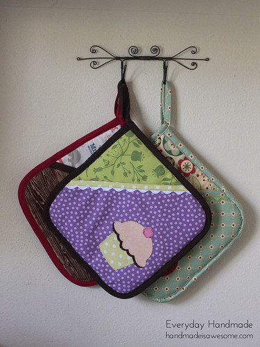 Cupcake appliqued pot holder | by gray_skies_blue