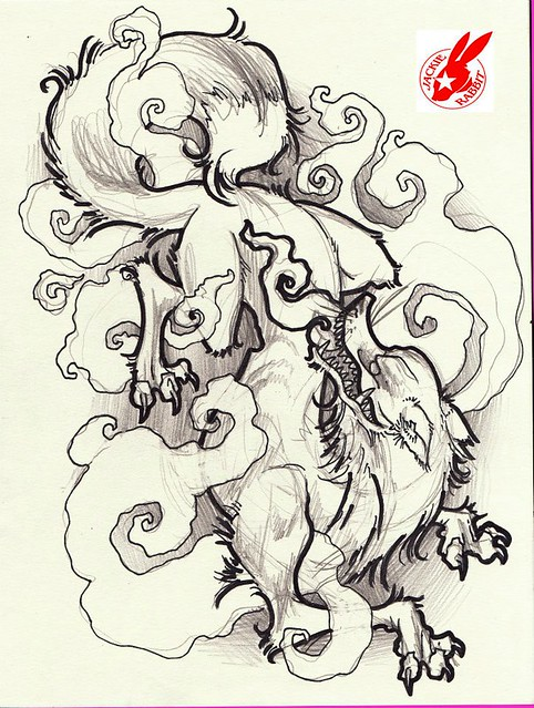 japanese fox demon tattoo design by jackie rabbit ...