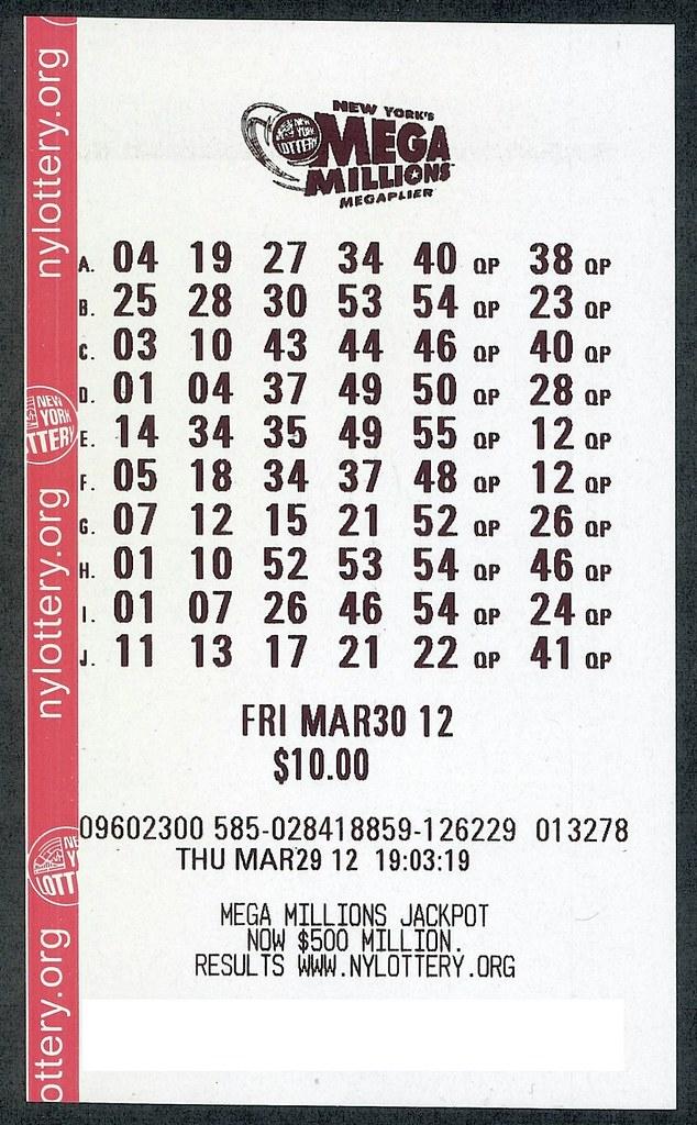 Winning ticket in the 03/30/12 $640 million Mega Millions ... Winning Lottery Ticket Mega Millions