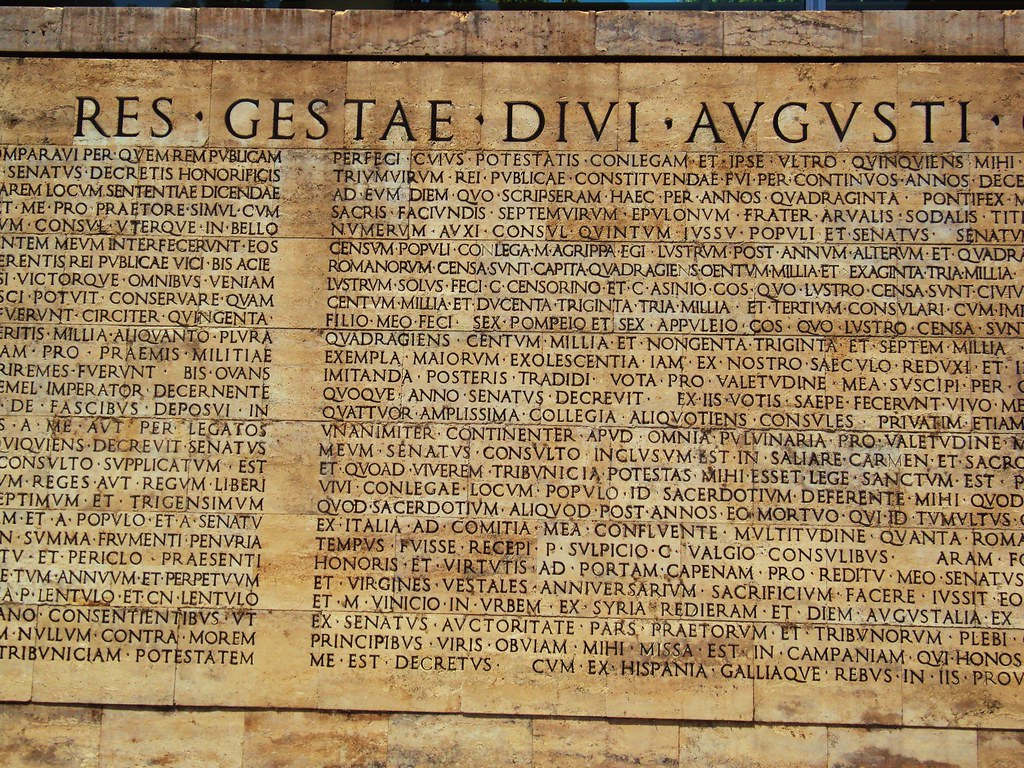 res gestae augustus essay Augustus says, in 'res gestae' that ' with reference to the evidence of res gestae and suetonius augustus an essay on why augustus was a better emperor.