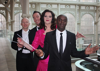 Trainee conductors Trevor Nelson, Josie Lawrence, Craig Revel Horwood and Professor Marcus du Sautoy | by Royal Opera House Covent Garden