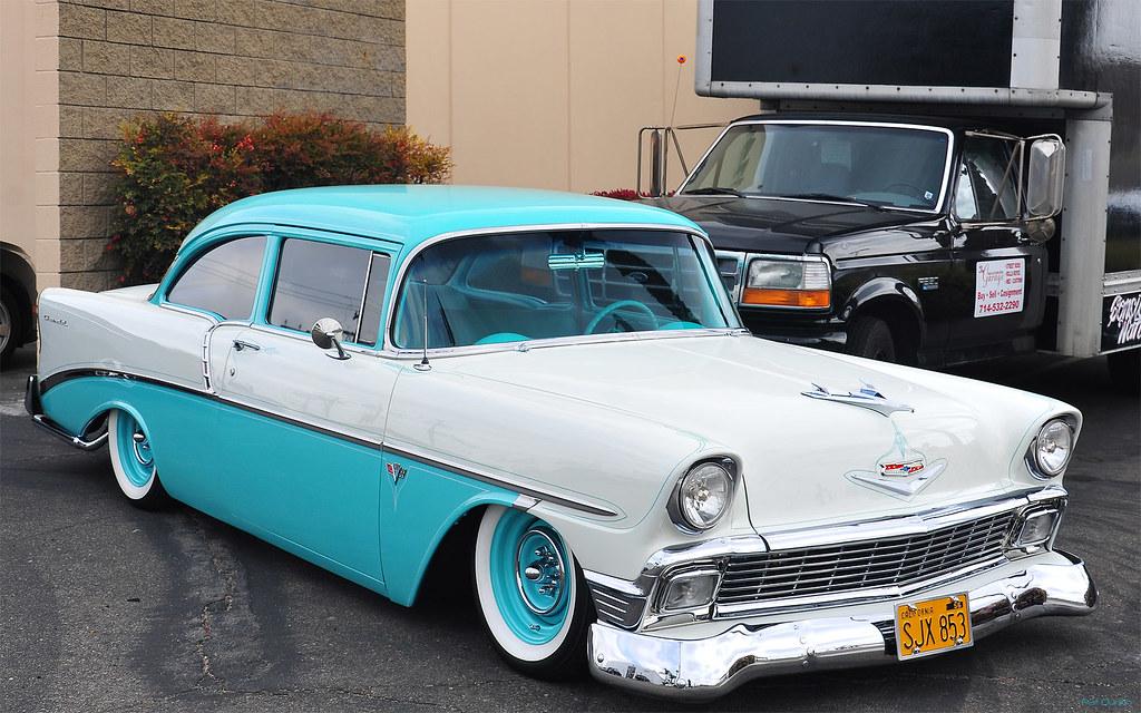 1956 chevrolet two ten 2 dr sedan   turquoise amp white   fv
