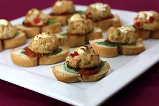 goat cheese stuffed chicken meatball crostini | by Elly Says Opa