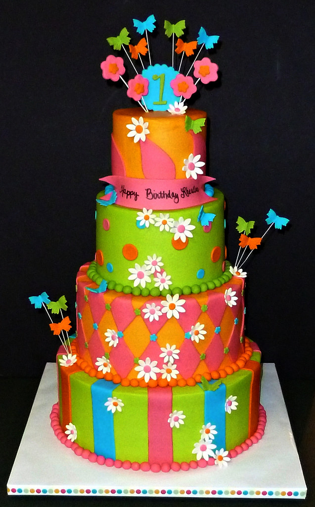 "Bright Butterfly Birthday Cake | Cake is a 4""/6""/8""/10 ..."