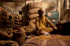 Middleman selling grain and seed in Bangladesh