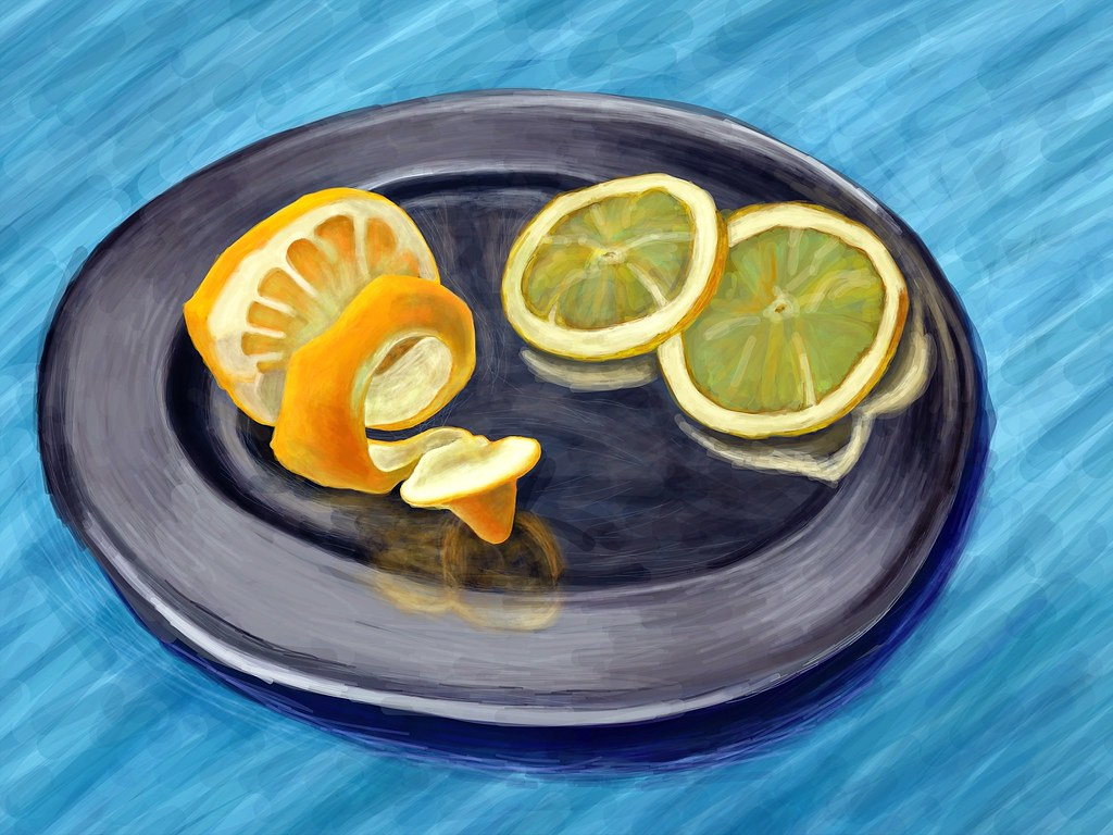peeled lemon with slices david hockney drawn using