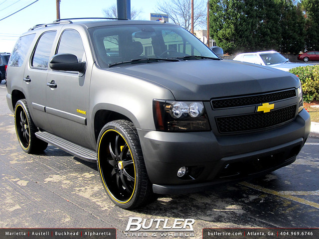 Chevy tahoe with 26in lexani lx9 wheels flat black wrap flickr photo sharing