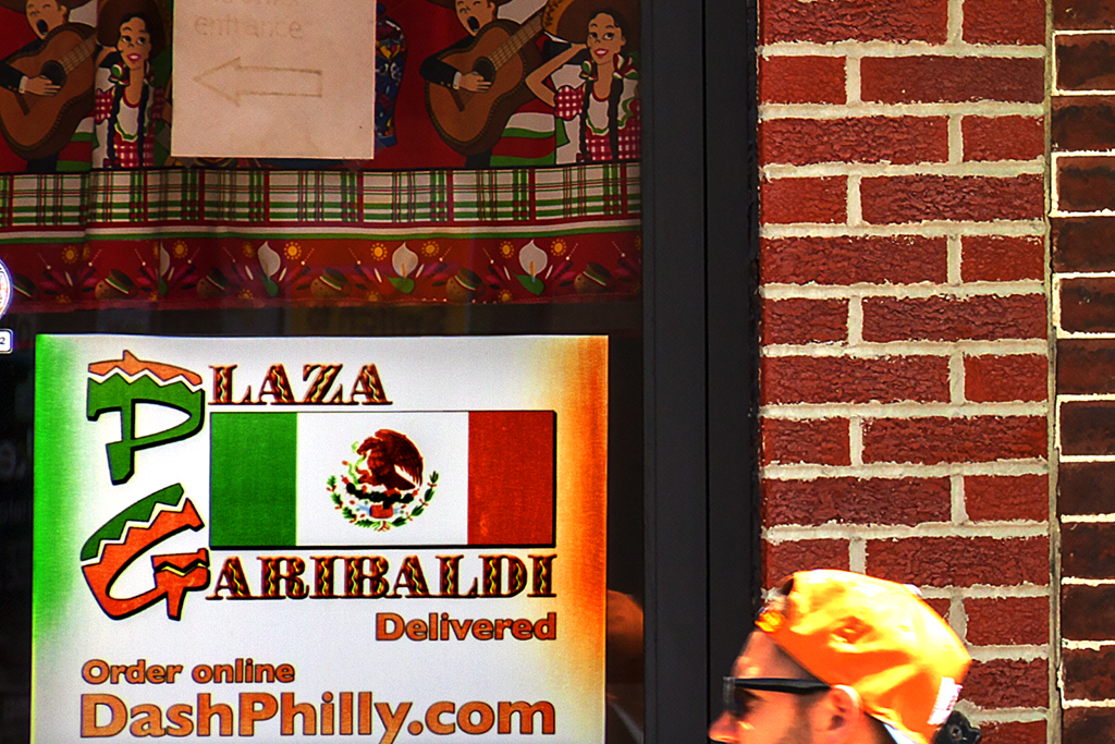 PLAZA GARIBALDI and American flag next door--Italian Market (detail)