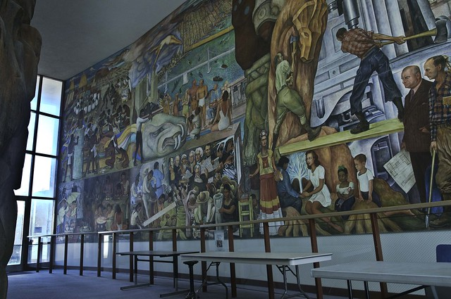 Pan american unity mural by diego rivera left side for Diego rivera mural in san francisco