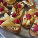 warm pear -raspberry bruschetta