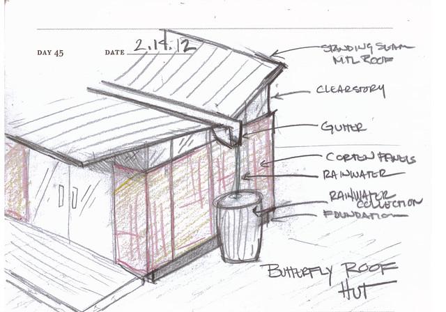 Butterfly roofs sketch by Jenny Cestnik.