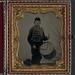 [Unidentified soldier in Union uniform and Ohio Volunteer Militia belt buckle with drum] (LOC)