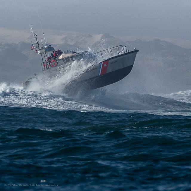 Coast Guard 47 Foot Motor Lifeboat Practicing In The Big