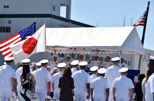 SASEBO, Japan – With more than 300 guests, Sailors, friends and family in attendance, Cmdr. Severn Stevens relieved Cmdr. Gary Harrington as commanding officer of the amphibious dock landing ship USS Germantown (LSD 42) during a change of command ceremony held May 10 in Sasebo, Japan.