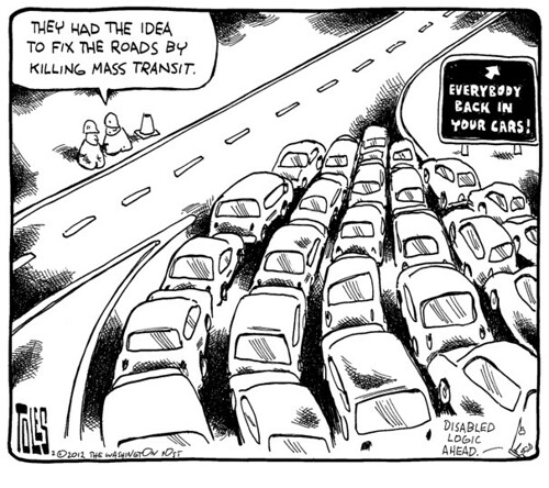 Tom Toles editorial cartoon, 2/10/2012, federal transportation bill