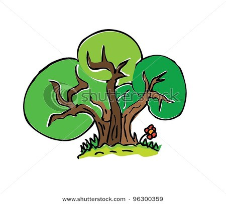 Stock vector cartoon drawing tree with color vector illust for Cute tree drawing