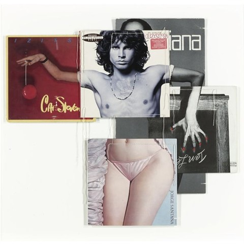 Christian Marclay, Doorsiana (from the body mix series), record covers and thread, 1991 | by drollgirl
