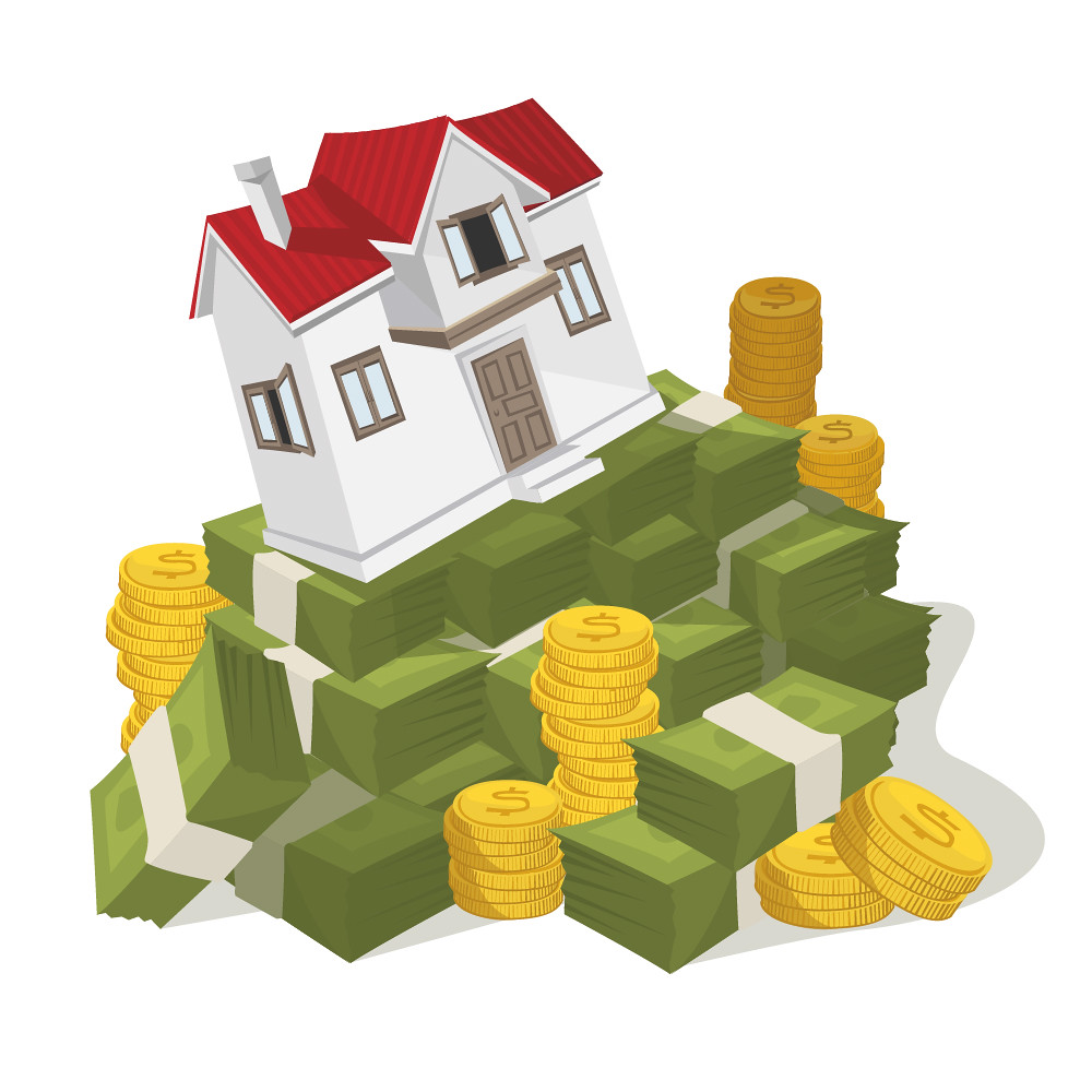 Home Equity Home Equity Home On Top Of Stack Of Money