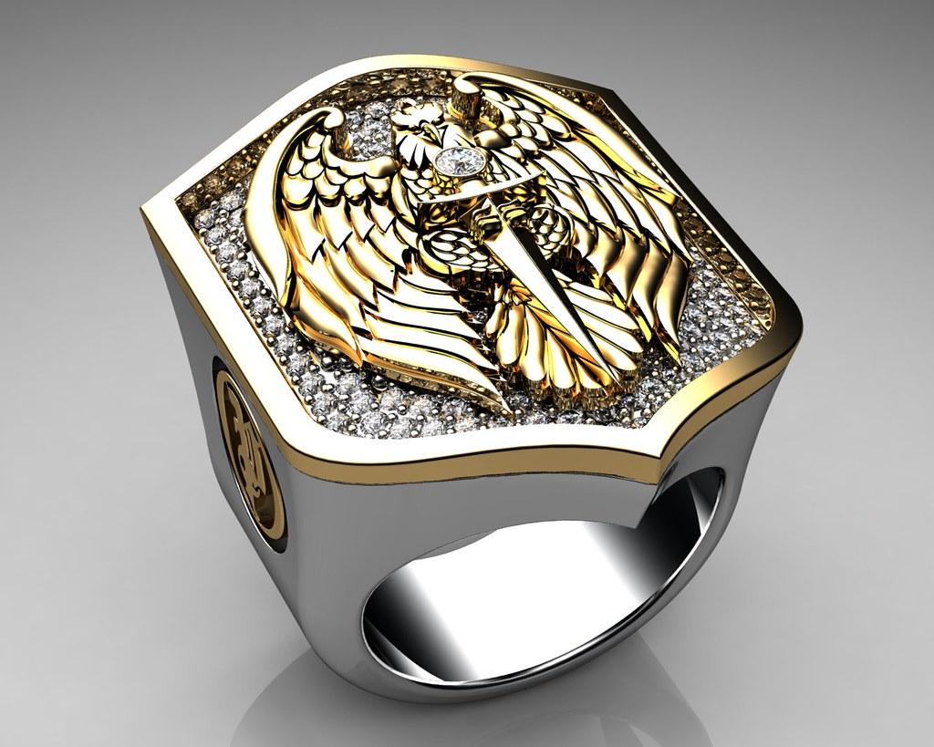 unique mens ring eagle shield ring sterling silver and gol. Black Bedroom Furniture Sets. Home Design Ideas