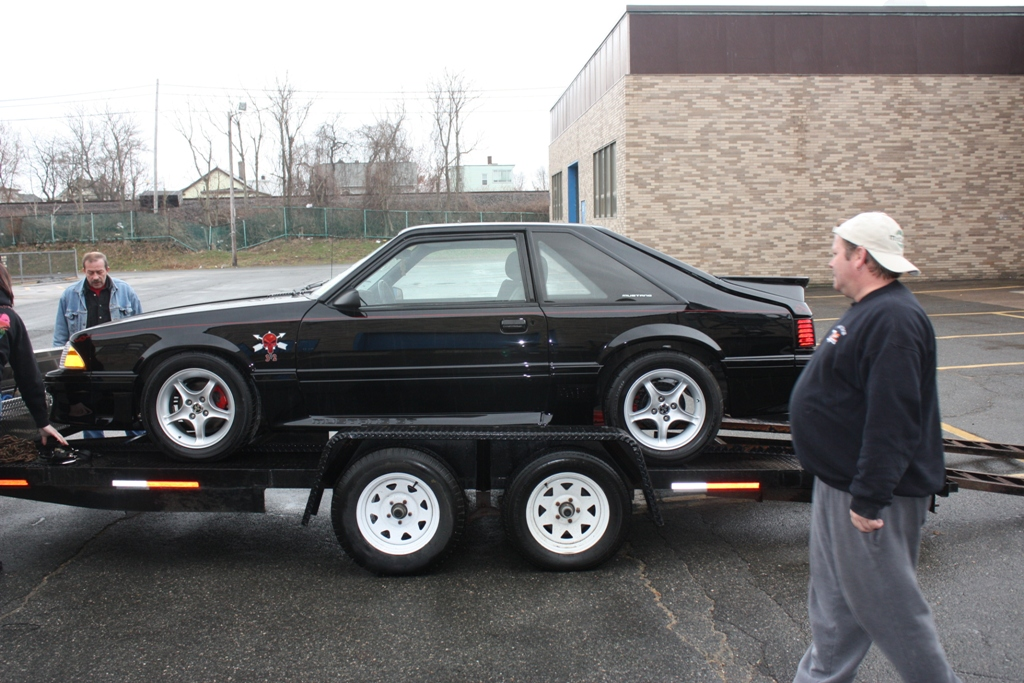 project fallen hero fox body mustang on the trailer
