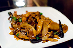 Lotus Blue - Stir-fried Trumpet Mushrooms & Bamboo Shoots with Basil