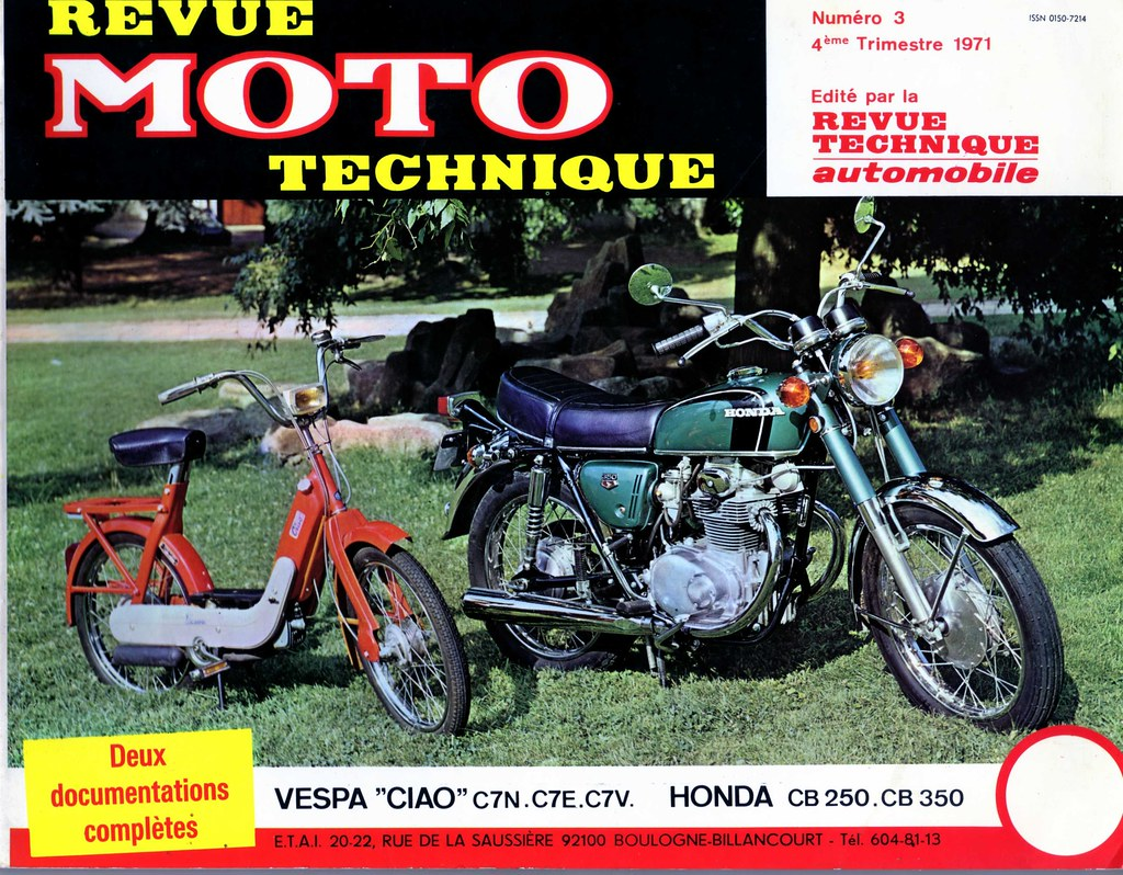 revue moto technique n 3 vespa ciao et honda cb 250 350 flickr. Black Bedroom Furniture Sets. Home Design Ideas