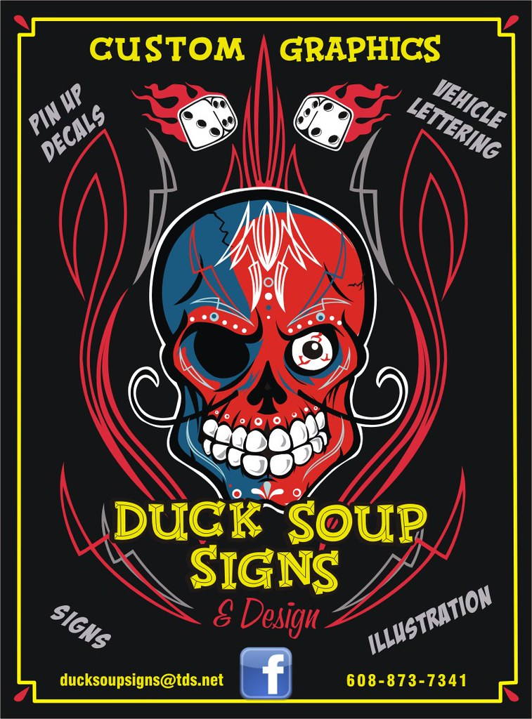 skully says hey | promo postcard for my sign shop-Duck Soup