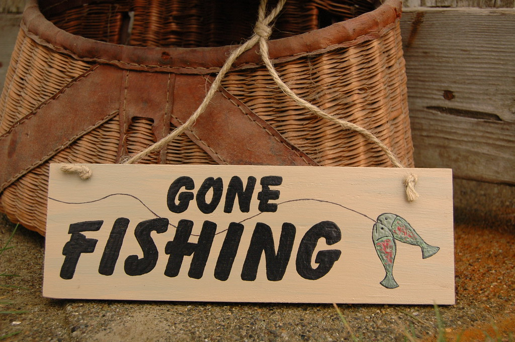 Gone fishing wood sign this is a hand painted wood sign for Gone fishing sign