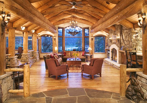 Log Home Great Room 7 Log Work By Sitka Log Homes A Row