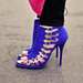 Bright blue suede buckle ankle boot
