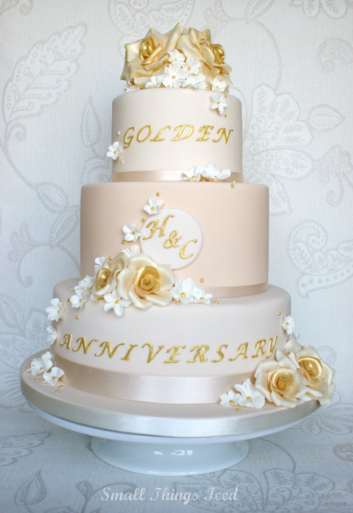 Wedding Anniversary Cake Images Hd : Golden Wedding Anniversary Cake 3 Tier wedding ...