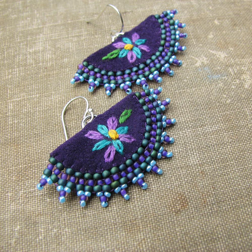 Purple flower earrings fan shaped embroidery beaded edg