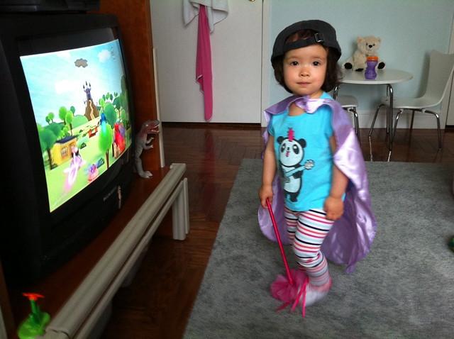"Wearing Her ""Princess Presto"" Costume"