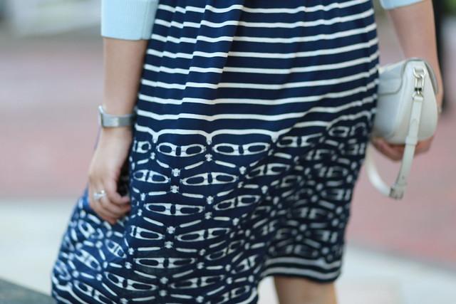 OOTD: Max Studio Striped Flare Dress + Mint Cropped Cardigan
