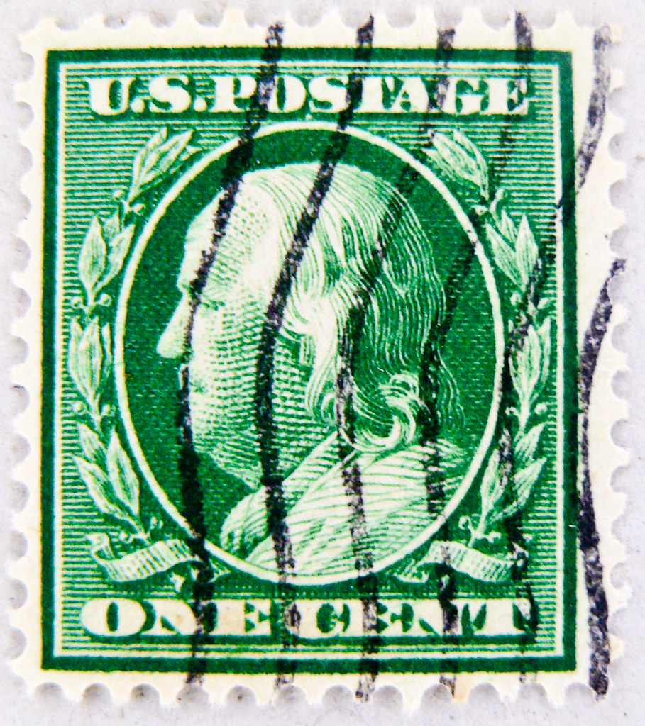 Vintage Stamp Usa 1c Portrait Benjamin Franklin Green Unit