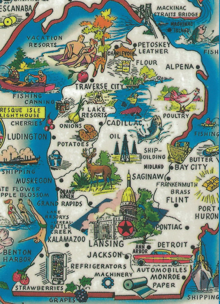 Vintage Michigan History Heritage Travel and Tourism Collect – Michigan Tourist Attractions Map