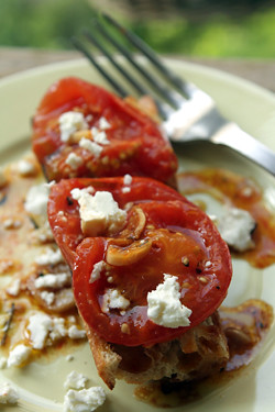 oven-roasted tomatoes with feta | by David Lebovitz