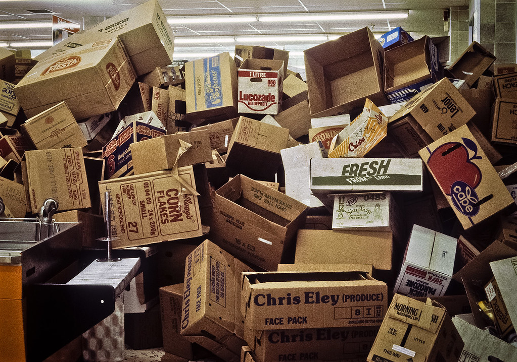 stack of cardboard boxes sainsbury 39 s watford c 1985. Black Bedroom Furniture Sets. Home Design Ideas