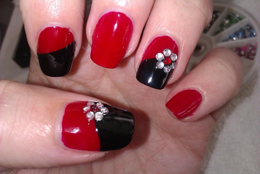Simple DIY Nail Art Designs Easy Red And Black Desig