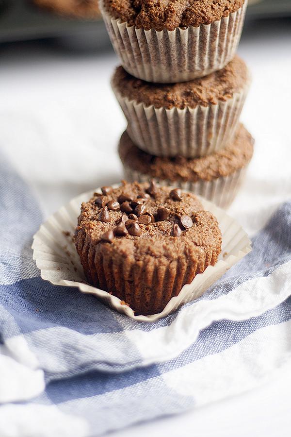 grain free, healthier chocolate muffins