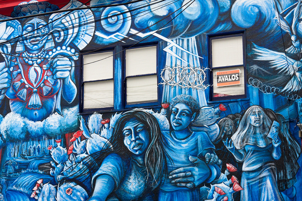 Murals mission district sfo throughout the mission for Chicano mural movement