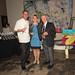 Santa Monica restaurateurs Chef Joe Miller of Bar Pintxo and Piero Selvaggio of Valentino Restaurant Group, judges in Jordan Winery's 4 on 4 Los Angeles Art Competition, with Lisa Mattson of Jordan Winery