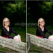 Senior girl in black shirt and glasses on park bench